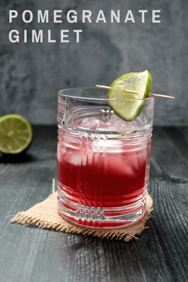 The Pomegranate Gimlet is a sweet and tart pomegranate and gin cocktail that takes just minutes to whip up. It's a delightful holiday cocktail or year-round sip.