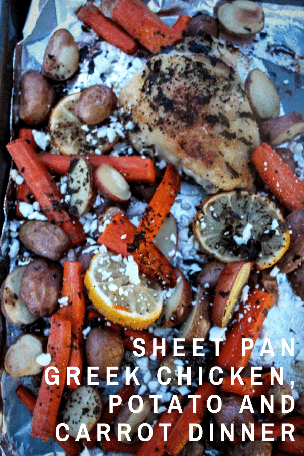 This Sheet Pan Greek Chicken, Potato and Carrot Dinner is one that I make again and again. Only one dirty pan, a well-balanced meal, adaptable, and flavorful, it's a winner all around!