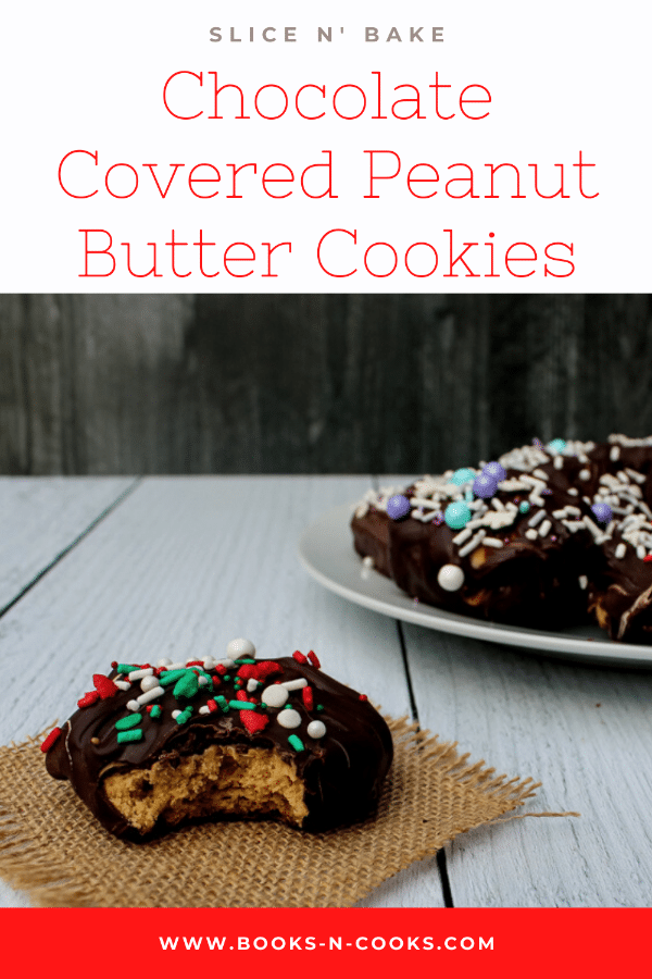 These Slice n' Bake Chocolate Covered Peanut Butter Cookies are like a fancy peanut butter cup! A peanut butter cookie is topped with a smear of peanut butter and then the whole thing is dunked in chocolate. Talk about an indulgent treat!