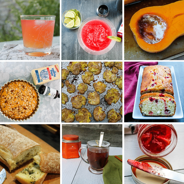 2020 Reader Favorites (regardless of publishing date): tiled picture of 9 images - the frenchy cocktail, the classic cosmo, roasted brown sugar butternut squash, apple bakewell tart, crispy smashed dutch potatoes, cranberry lemon cake, garlic ciabatta bread, cinnamon hot toddy, cranberry orange marmalade