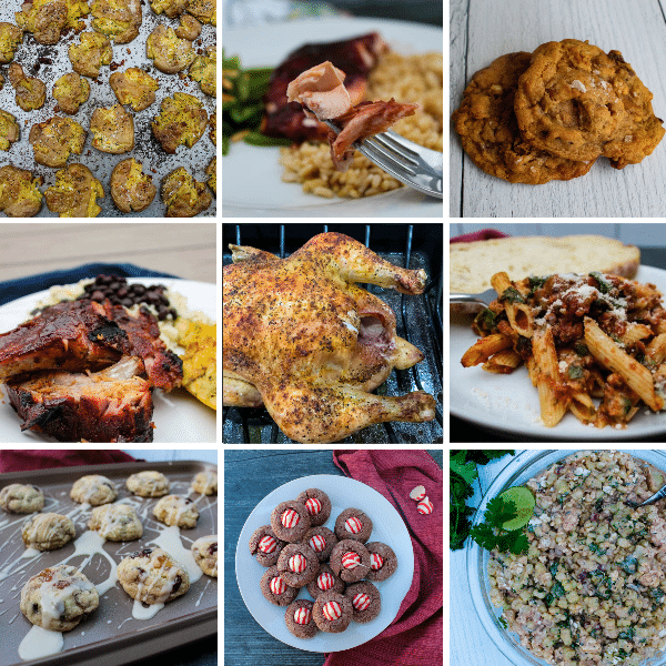 2020 Readers Favorites: Published in 2020 - tiled image of crispy smashed potatoes, raspberry chipotle salmon, salted butterscotch pretzel cookies, slow cooked memphis ribs, simple oven roasted chicken, ziti with sausage and spinach, fruitcake cookies, chocolate peppermint kiss cookies, mexican street corn salad