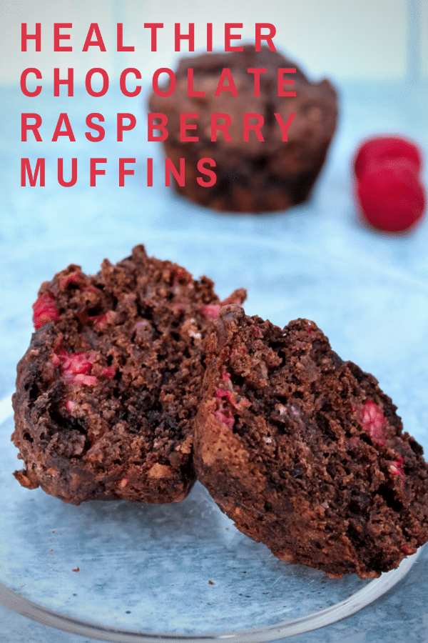 These Healthier Chocolate Raspberry Muffins are a quick snack or grab and go breakfast, featuring less fat and sugar than most muffins.