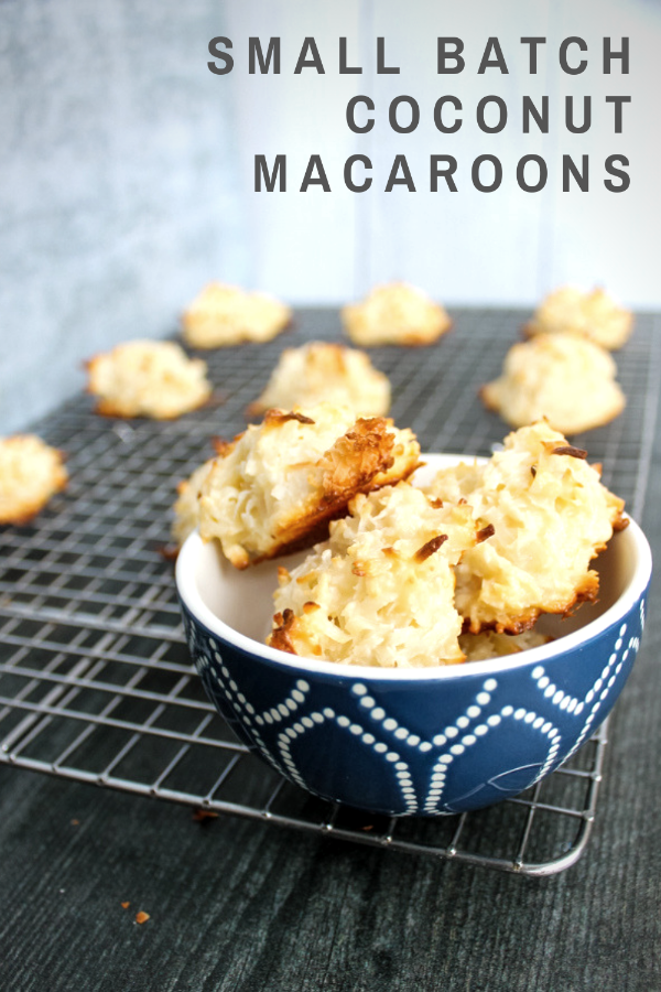 Small Batch Coconut Macaroons are 5-ingredient bites of sweet coconuty goodness. The cookies take just 5 minutes of prep and 15 minutes of baking before you get a sweet treat.