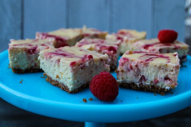 side view of Raspberry Cheesecake Bars